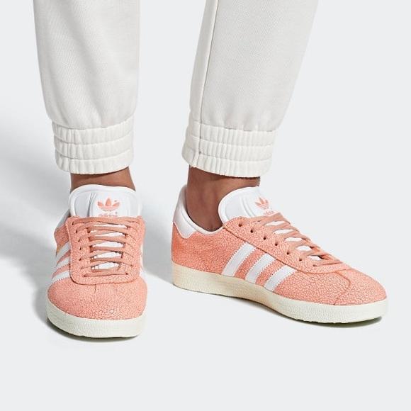 Adidas Gazelle Peach Pink Cracked Suede